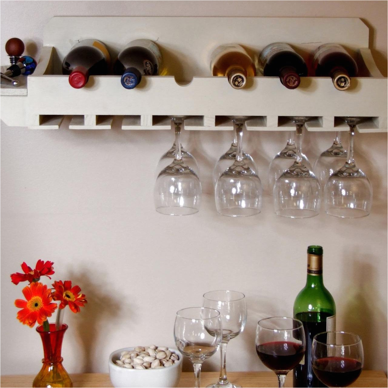 a wine rack with places for bottles and glasses diy network