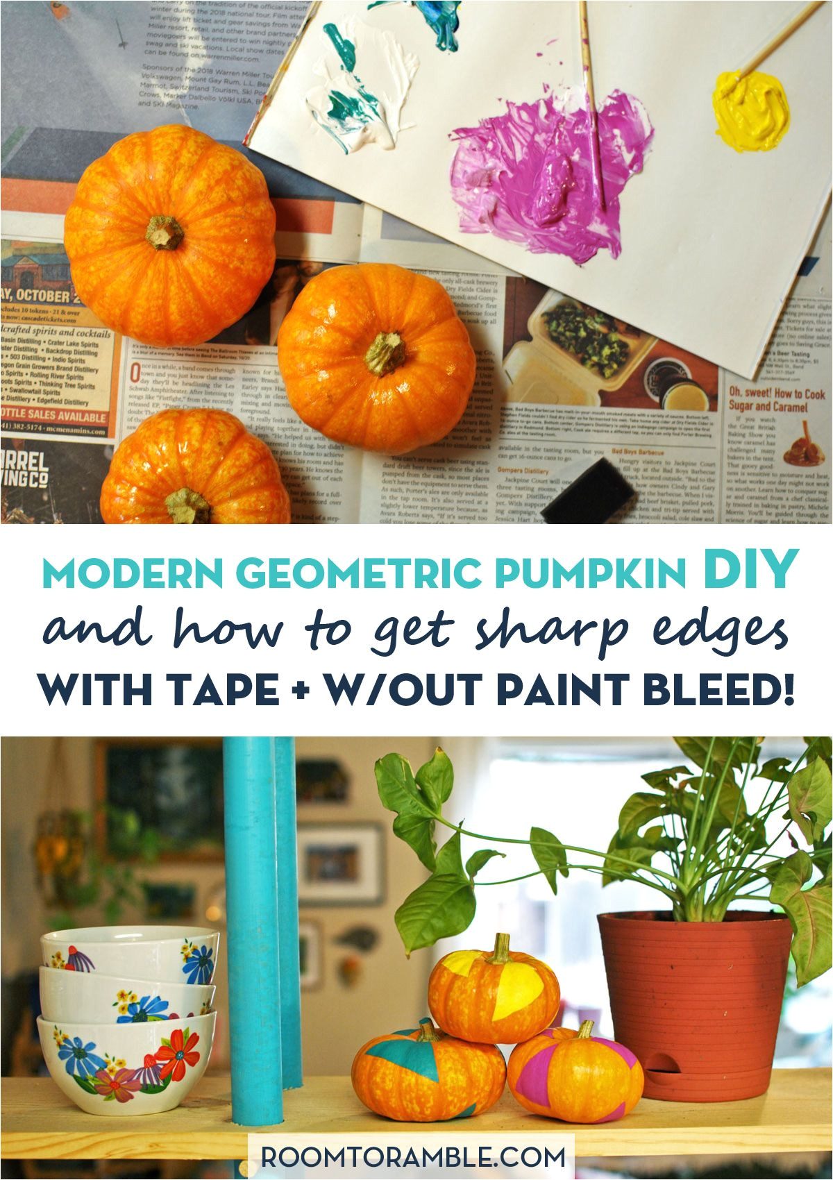 decorate your home for fall with a modern twist try this geometric pumpkin diy along with a helpful trick for painting shapes with a sharp edge