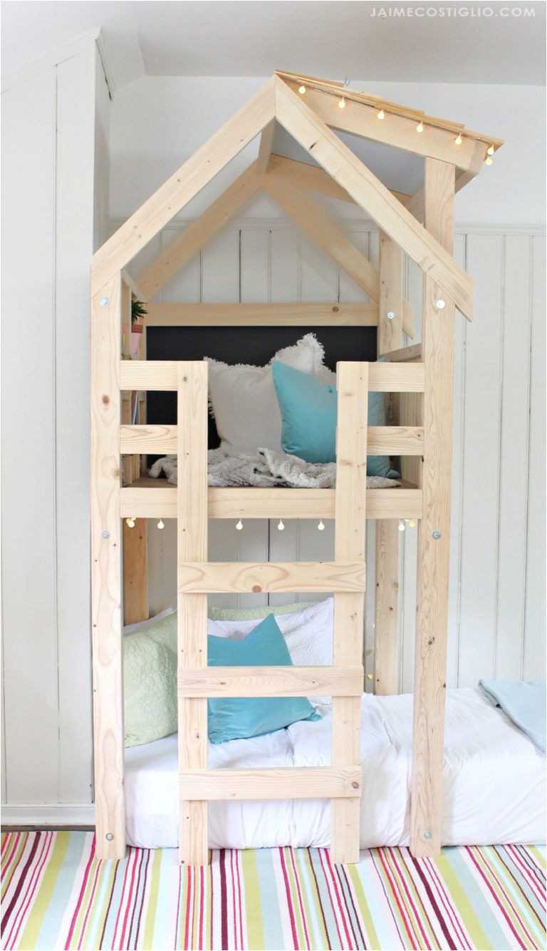 a diy tutorial to build an indoor playhouse kids loft over a twin bed make your kids dreams come true with free plans from ana white for this awesome loft