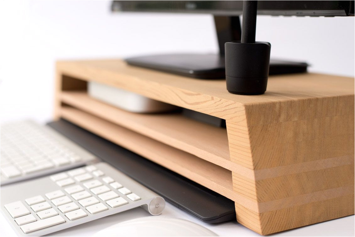 ultimate display stand with mac mini wacom keyboard storage opportunities by studiohaft on etsy