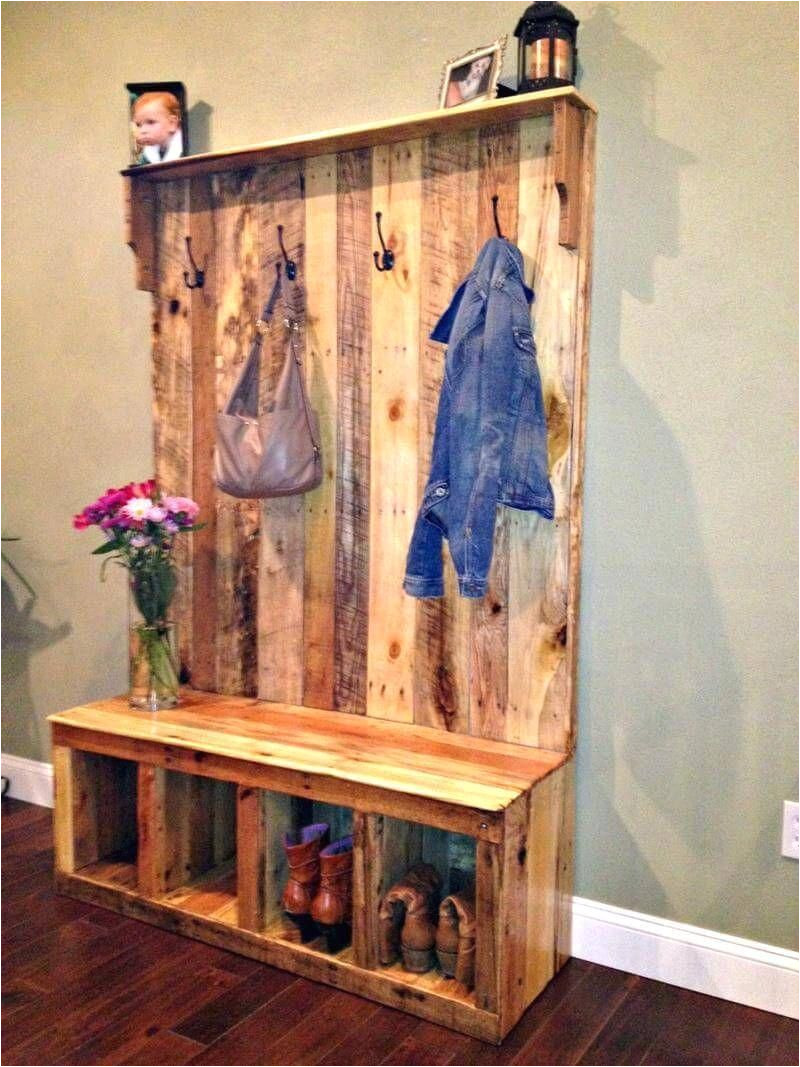 diy your own pallet hall tree or pallet wood entryway bench