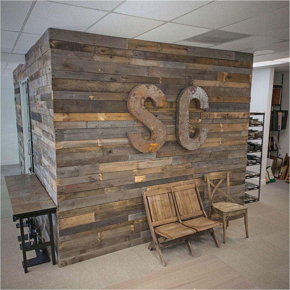 pallet wall office renovation