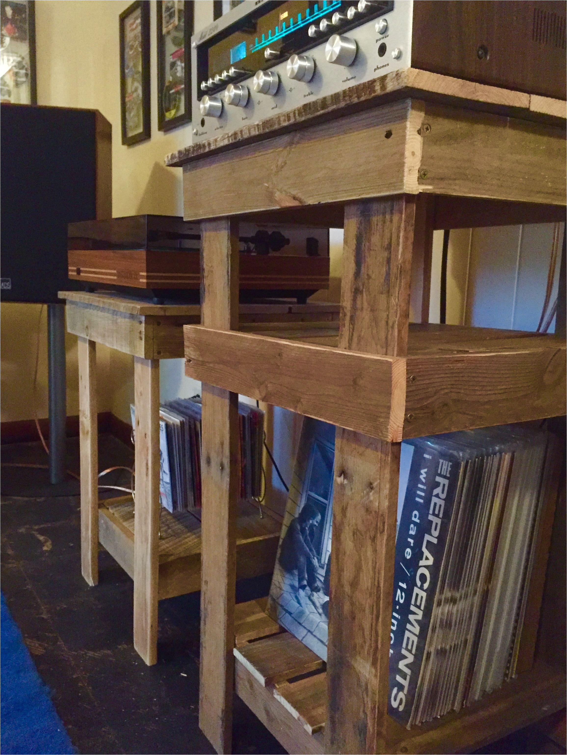 stereo and record player stands built from reclaimed pallets original designs