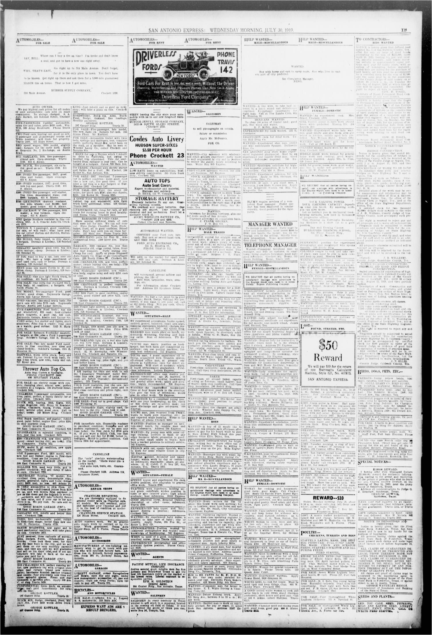san antonio express san antonio tex vol 54 no 208 ed 1 wednesday july 30 1919 page 19 of 22 the portal to texas history