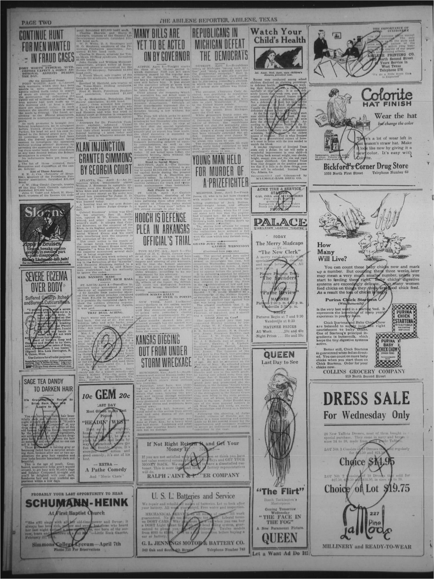 the abilene daily reporter abilene tex vol 24 no 278 ed 1 tuesday april 3 1923 page 2 of 8 the portal to texas history