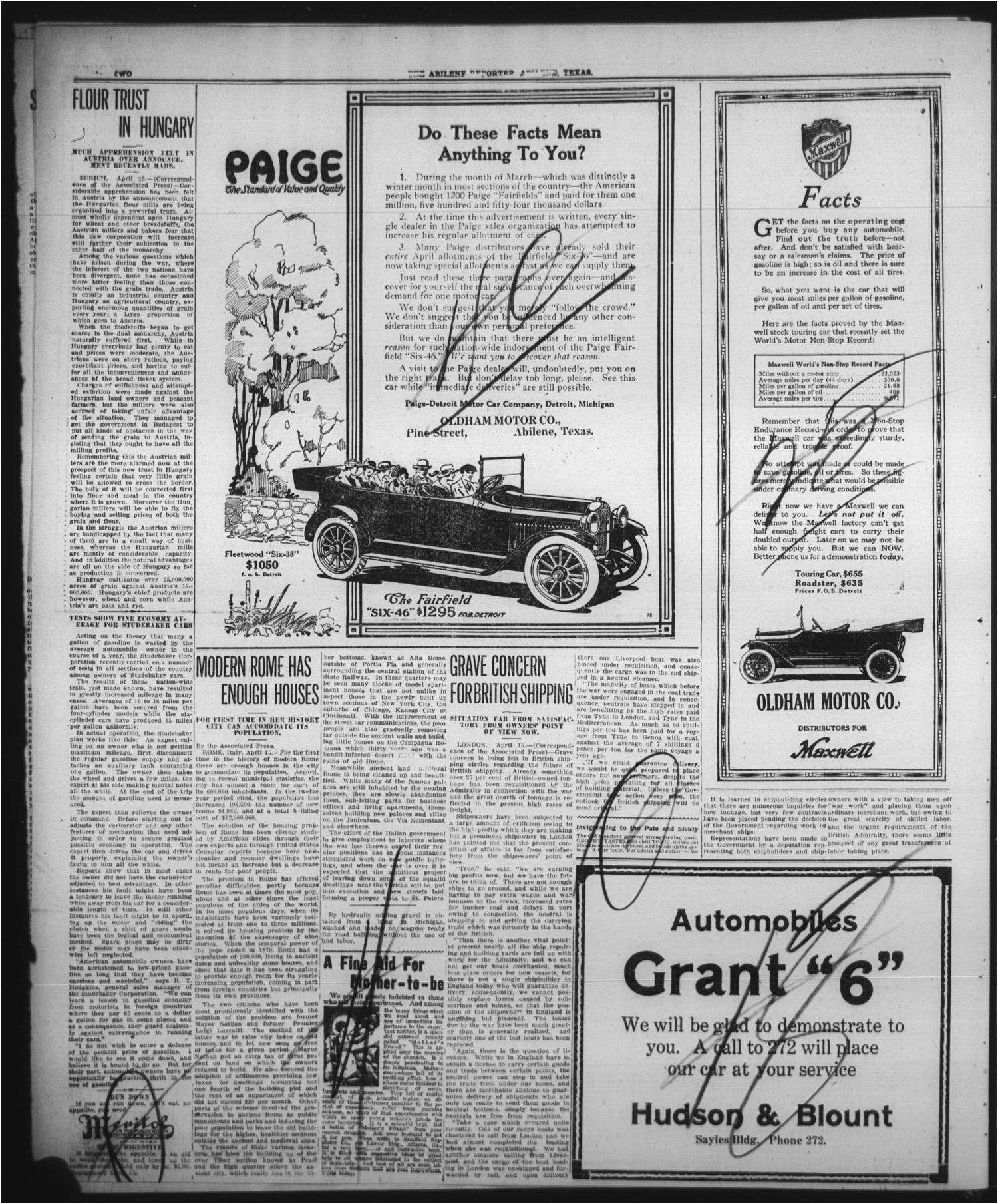 the abilene daily reporter abilene tex vol 20 no 28 ed 1 sunday april 16 1916 page 14 of 18 the portal to texas history