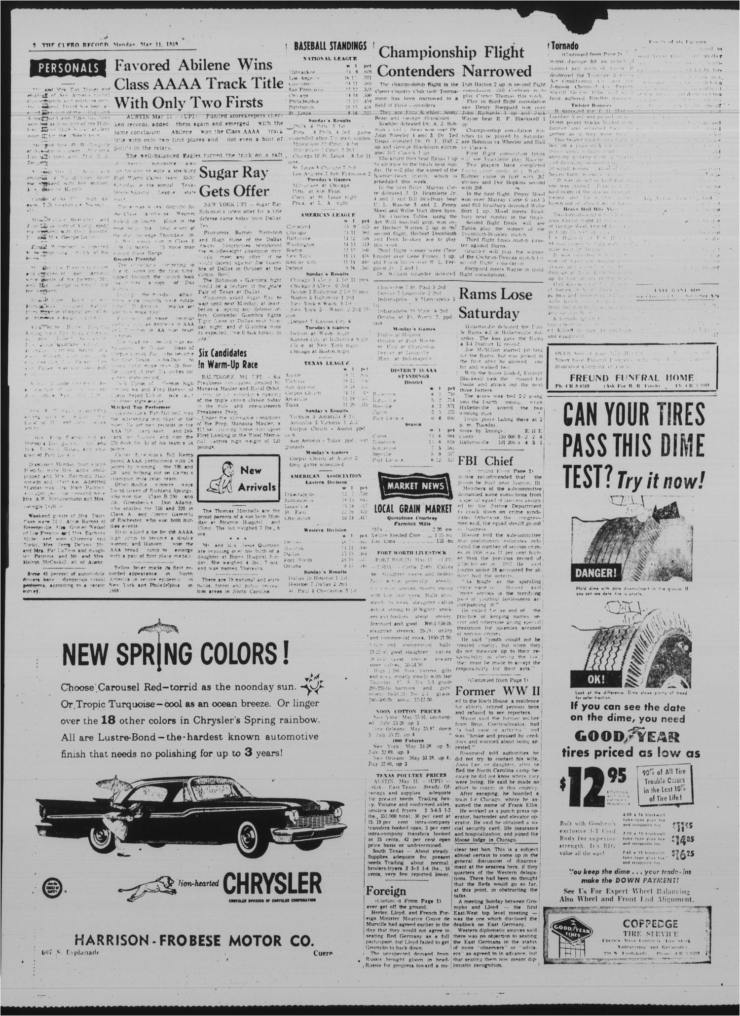the cuero record cuero tex vol 65 no 143 ed 1 monday may 11 1959 page 2 of 6 the portal to texas history