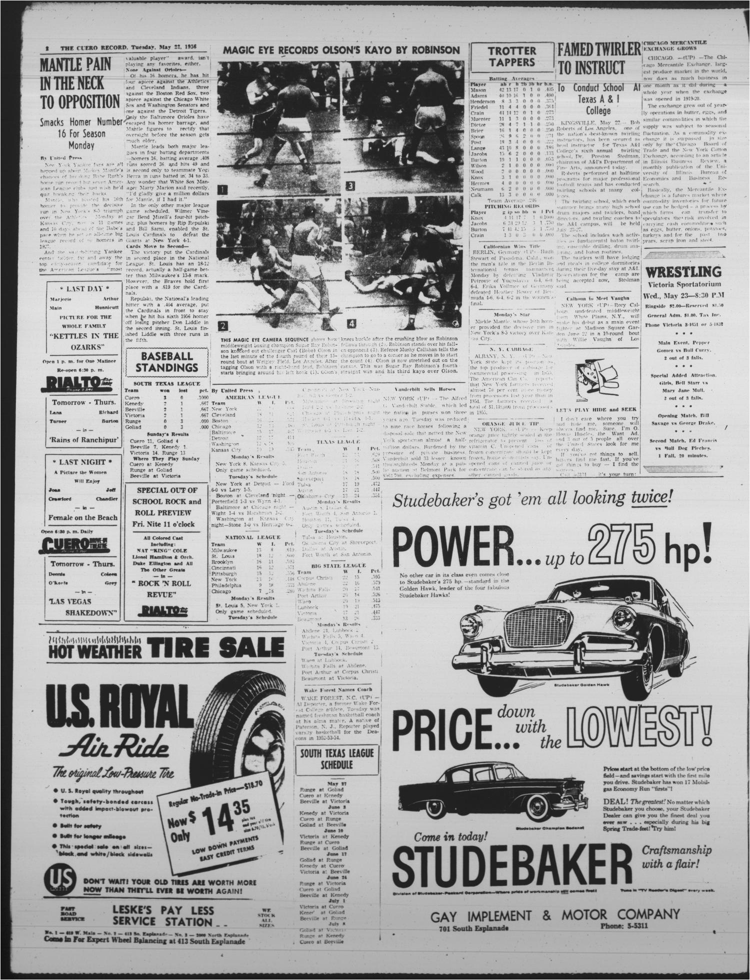 the cuero record cuero tex vol 68 no 124 ed 1 tuesday may 22 1956 page 2 of 6 the portal to texas history