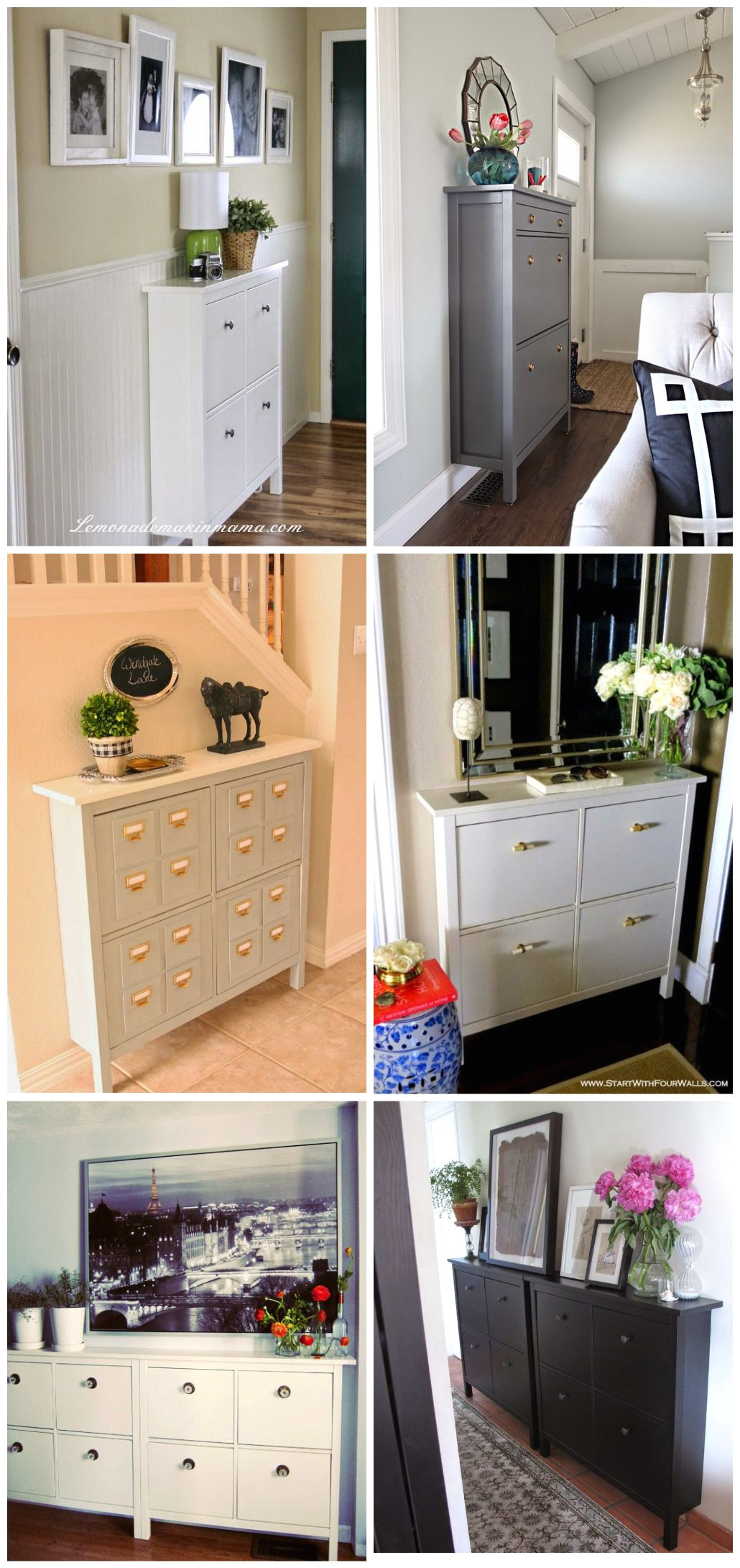 ikea hemnes shoe cabinet only has front legs to allow for the closest fit to the wall the minimal 8 5 11 75 depth is ideal for a small entry hallway