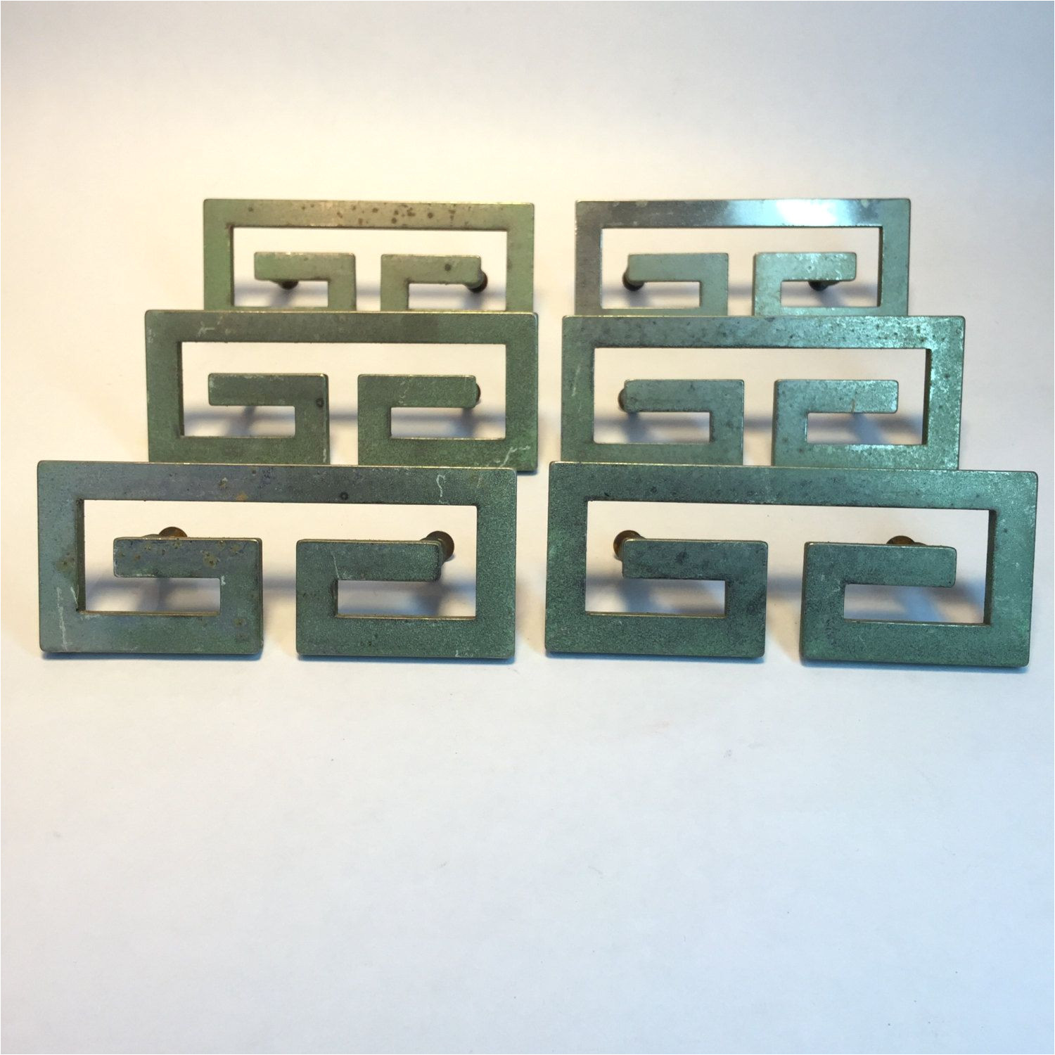 greek key style drawer pulls lot of 6 vintage 3 inch centers replacement drawer cabinet hardware by retroresalesandiego on etsy