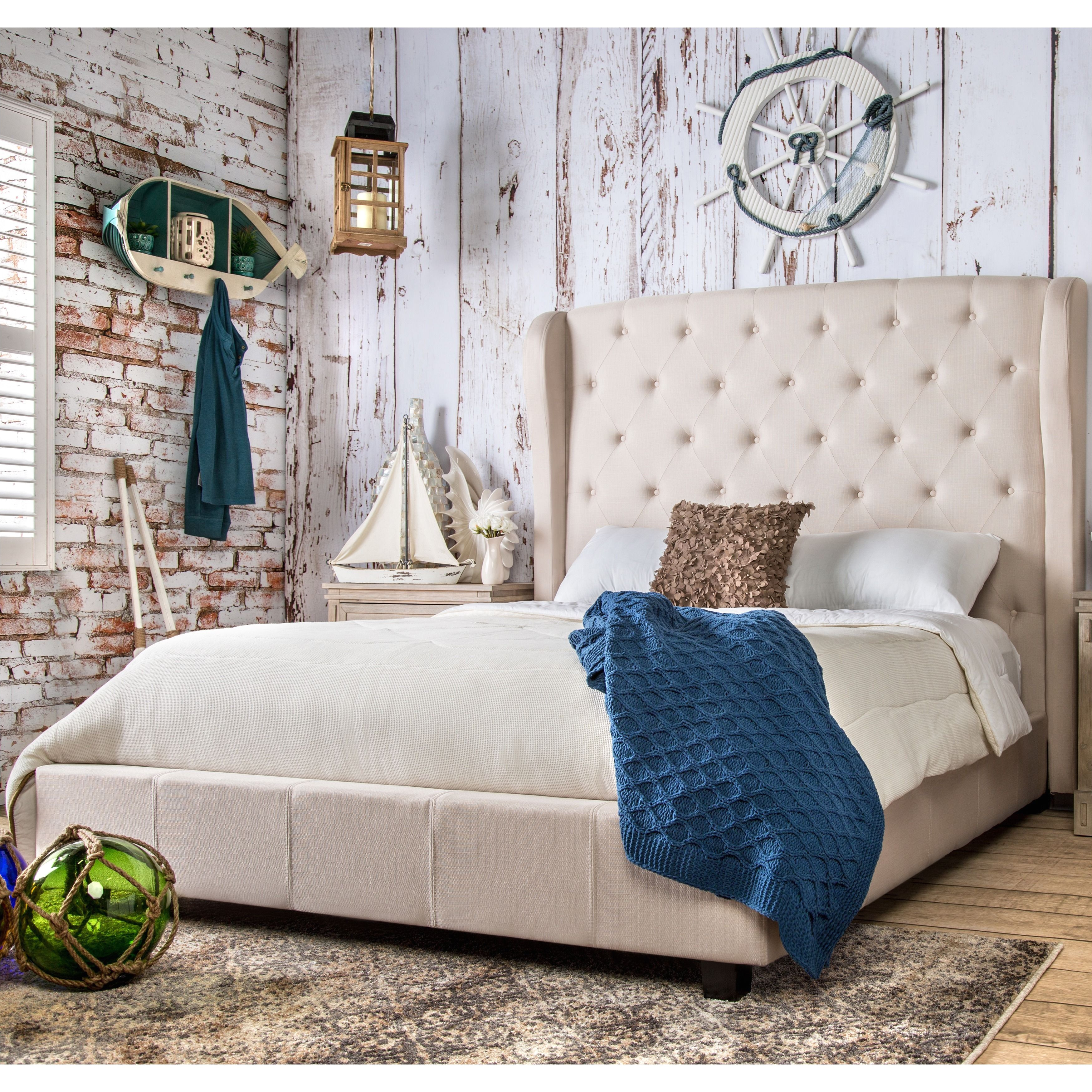 furniture of america draviosa button tufted padded flax wingback platform bed cal king ivory beige off white size california king