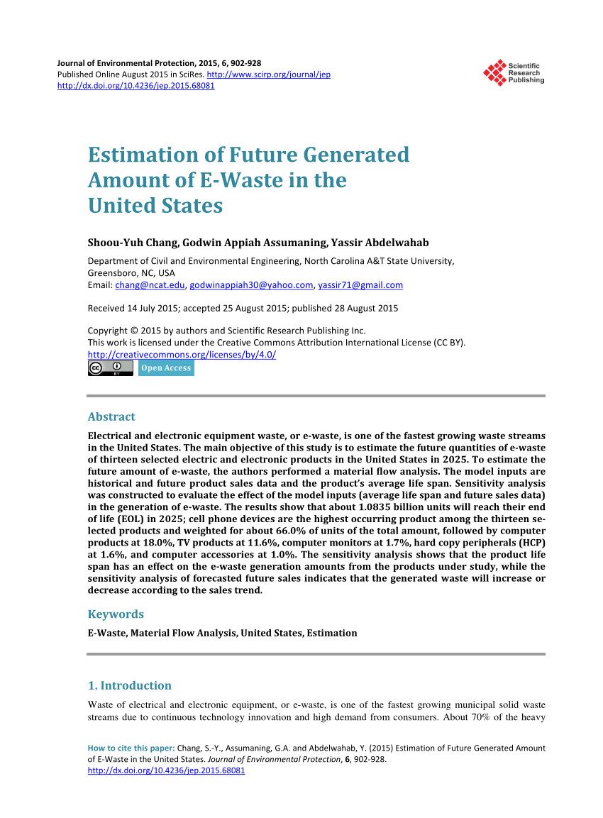 Electronics Recycling Greensboro Nc Pdf Estimation Of Future Generated Amount Of E Waste In the United