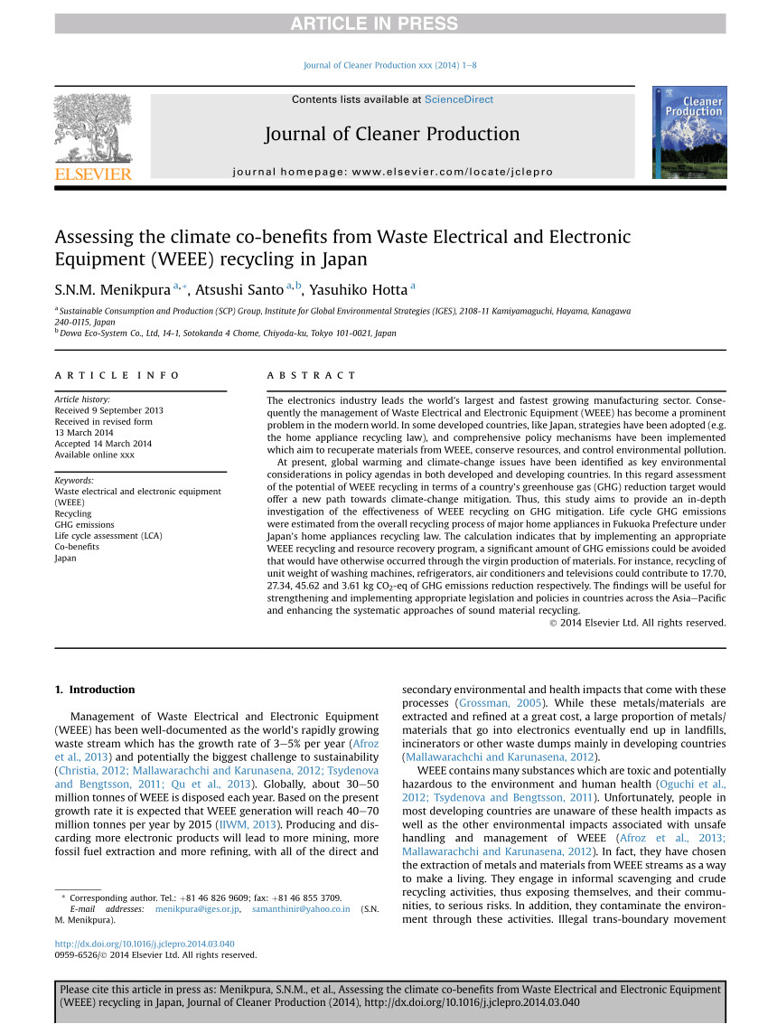 pdf a study on the environmental aspects of weee plastic recycling in a brazilian company