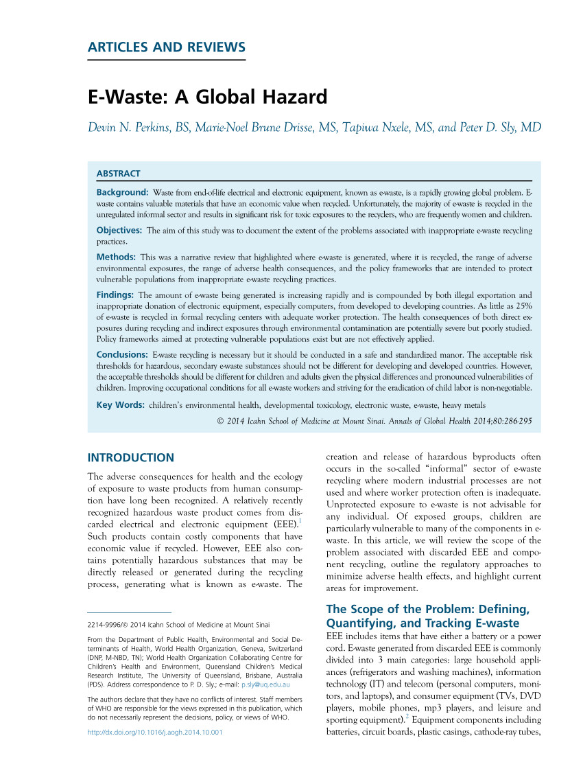 pdf e waste recycling environmental and health impacts