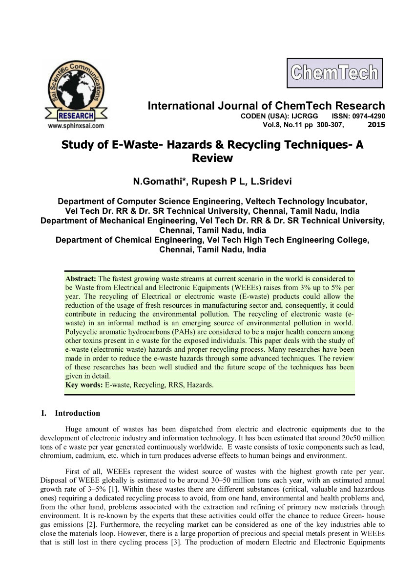 pdf study of e waste hazards recycling techniques a review