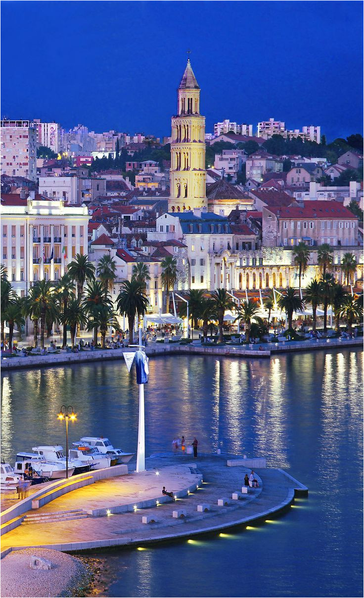 split waterfront with the bell tower of st dominius croatia