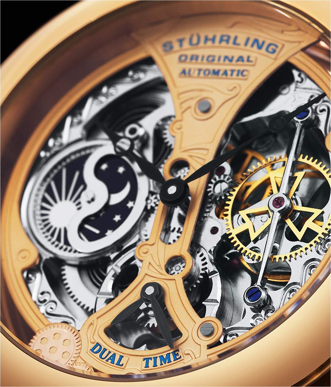 amazon com stuhrling original men s 127a 334553 special reserve emperor s grandeur skeleton rose tone watch watches