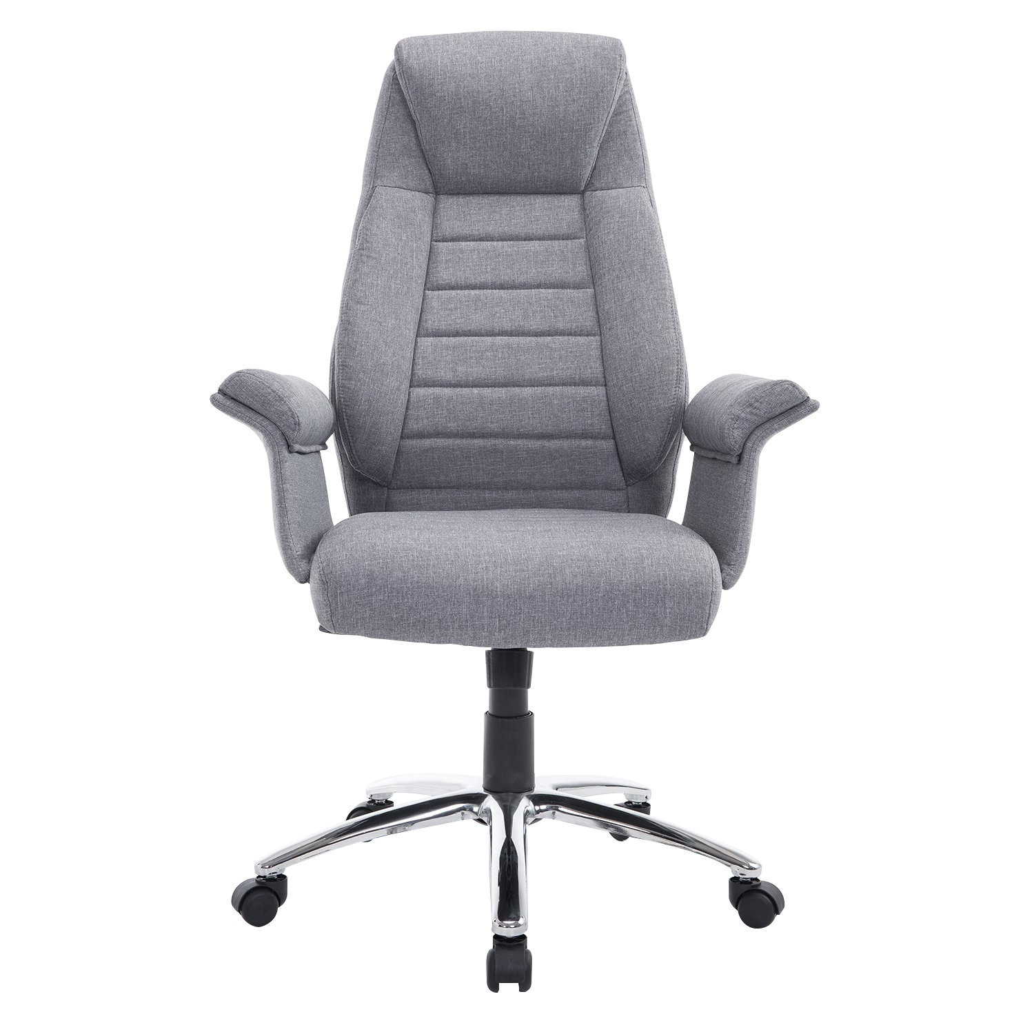 amazon com homcom high back fabric executive leisure home office chair with arms light grey kitchen dining