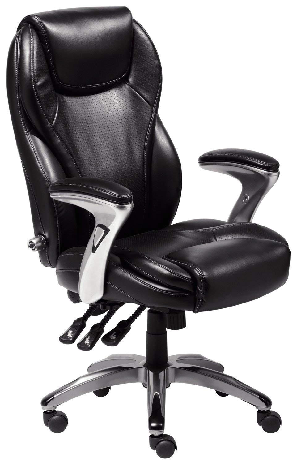 Executive Office Chair with Leg Rest Amazon Com Serta Bonded Leather Executive Chair Multi Paddle