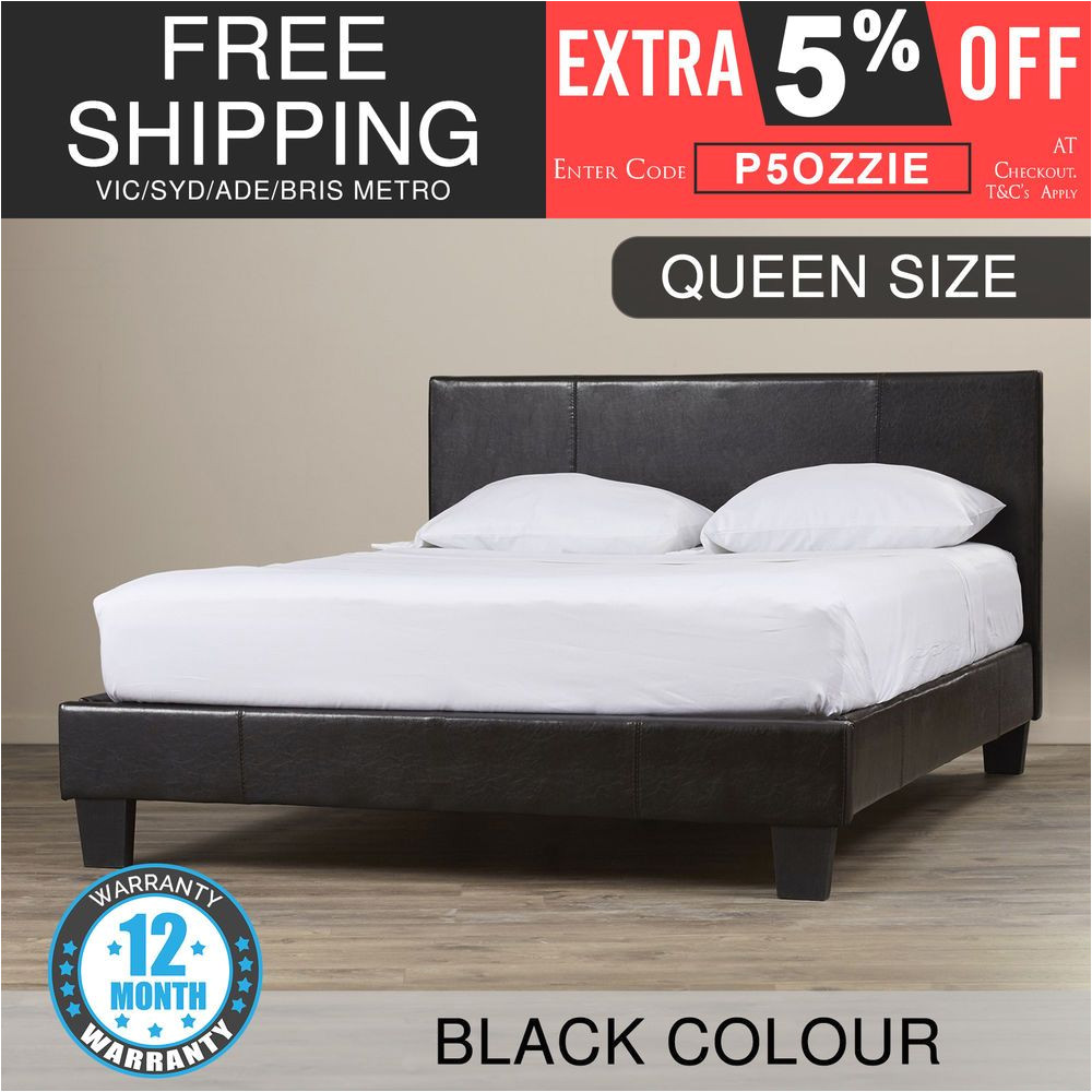 Extra Strong Wooden Bed Frames New Bed Frame Queen Size Pu Leather Wooden Slat High Padded Head