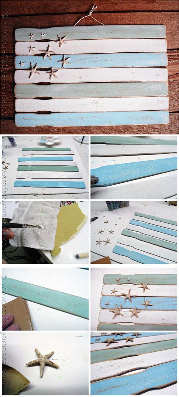 easy paint stick flag wall decor ideas weathered paint stick beach flag by diy ready