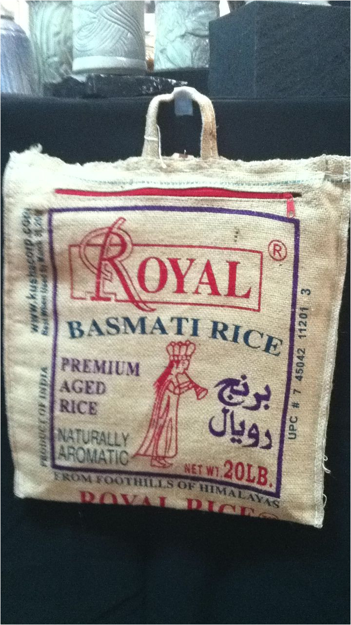 insulted lunch bag made from recycled rice bag