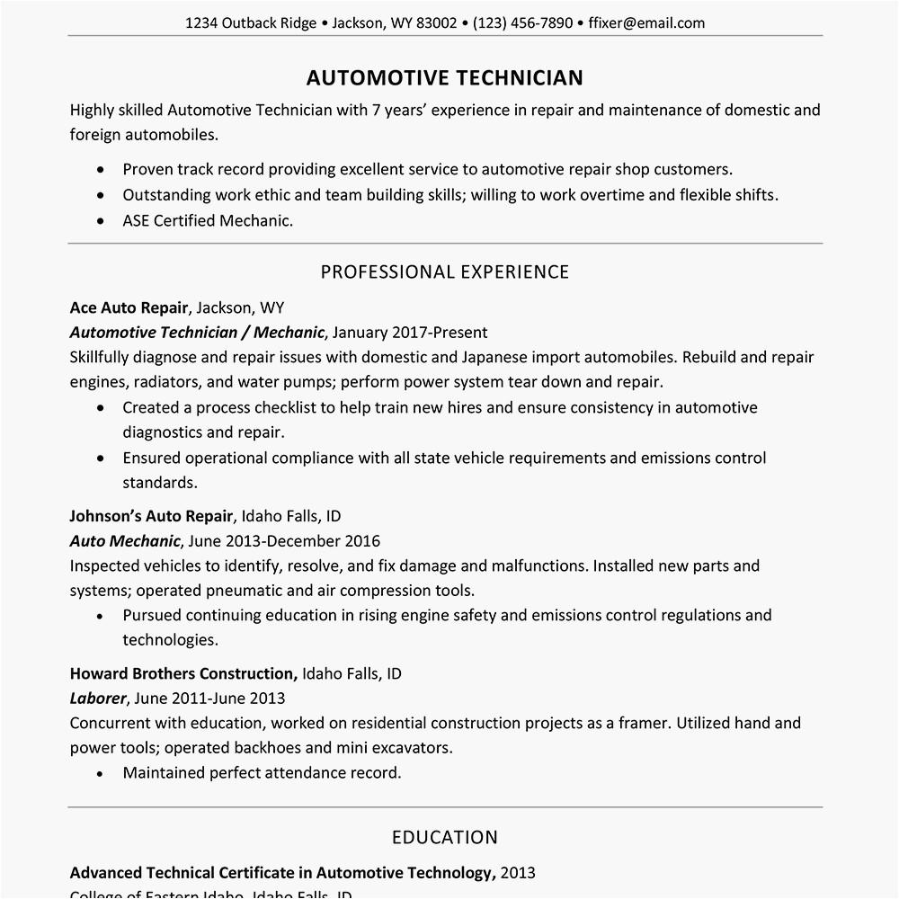 screenshot of a sample resume