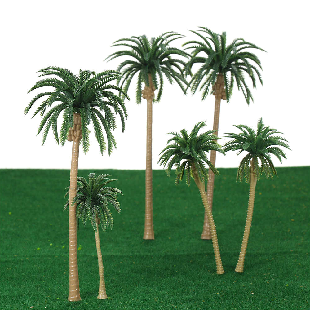 15pcs artificial miniature palm trees scenery layout model plastic tree train coconut rainforest toys for home
