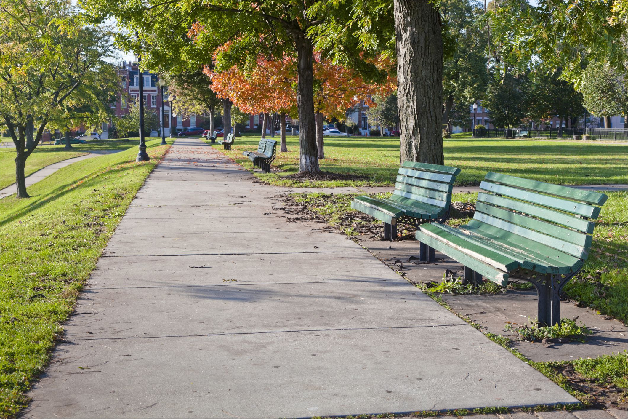 green wooden benches lined up along a sidewak on a sunny autumn day baltimore s federal hill