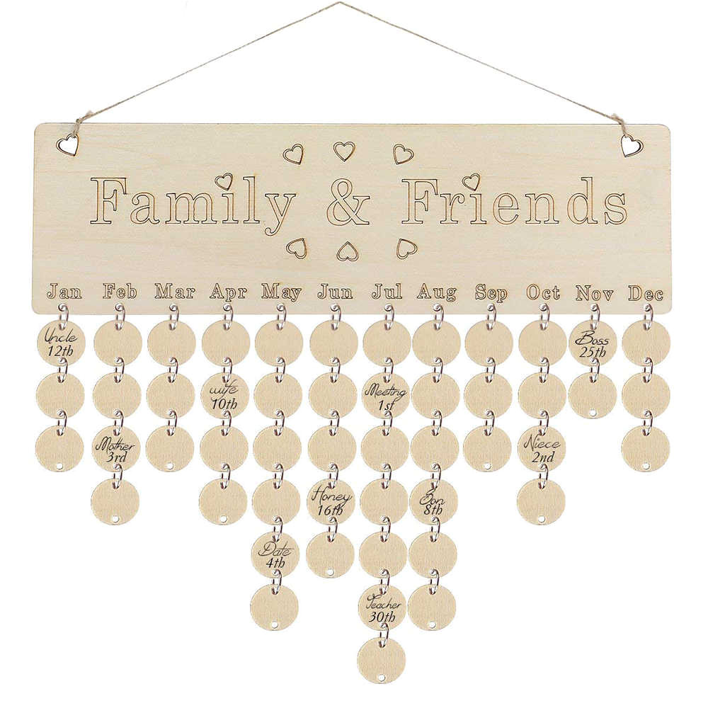 diy fashion wooden birthday calendar family friends sign special dates planner board hanging decor gift decorate