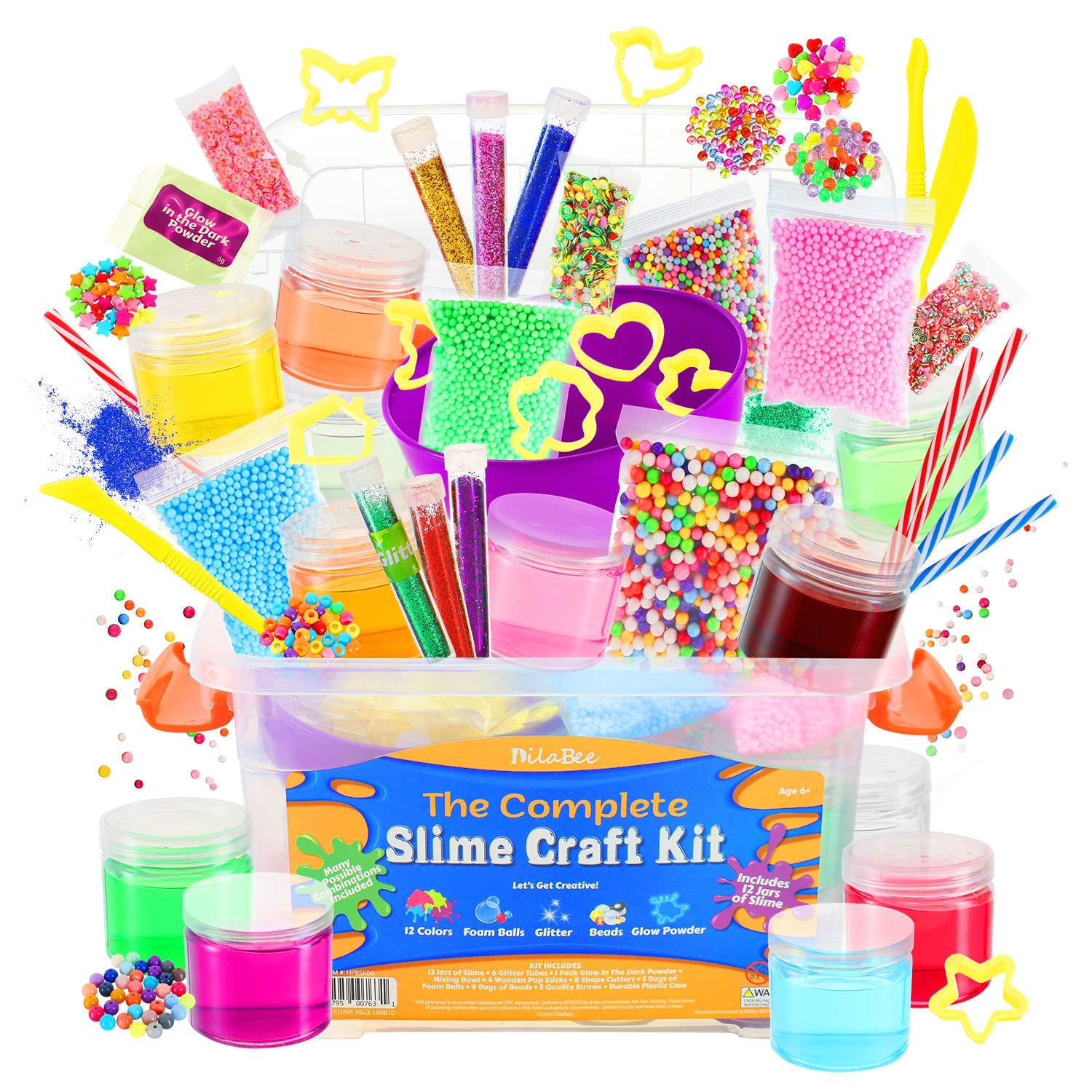 amazon com dilabee ultimate diy slime making kit for girls and boys package includes 12 ready mixed slime glitter glow powder charms beads mixing