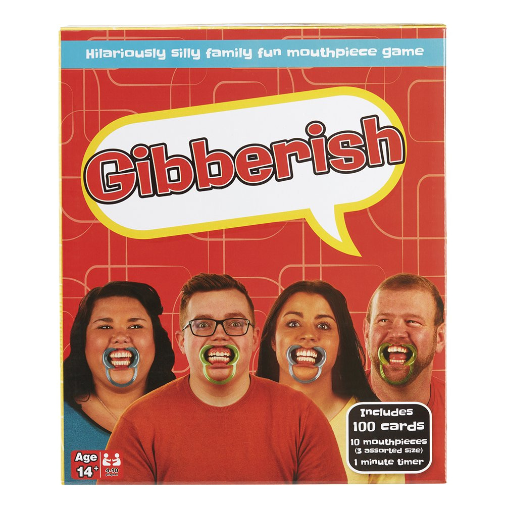 gibberish family party game fun hilarious hours of fun mouthpiece mouthguard board game great gift for men and women amazon co uk toys games