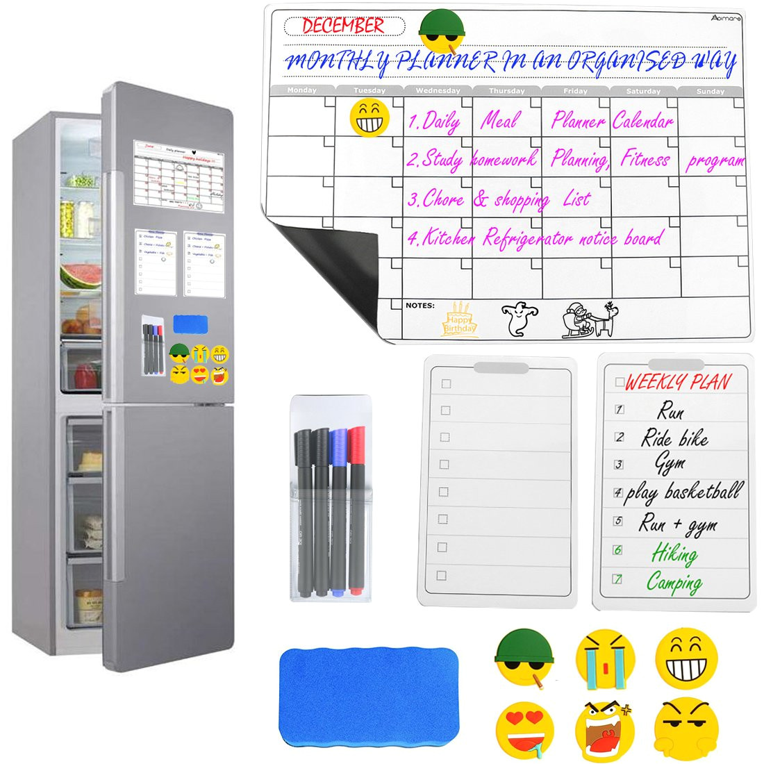 magnetic dry erase calendar set for fridge abimars large monthly weekly refrigerator calendar whiteboard meal planner memo board