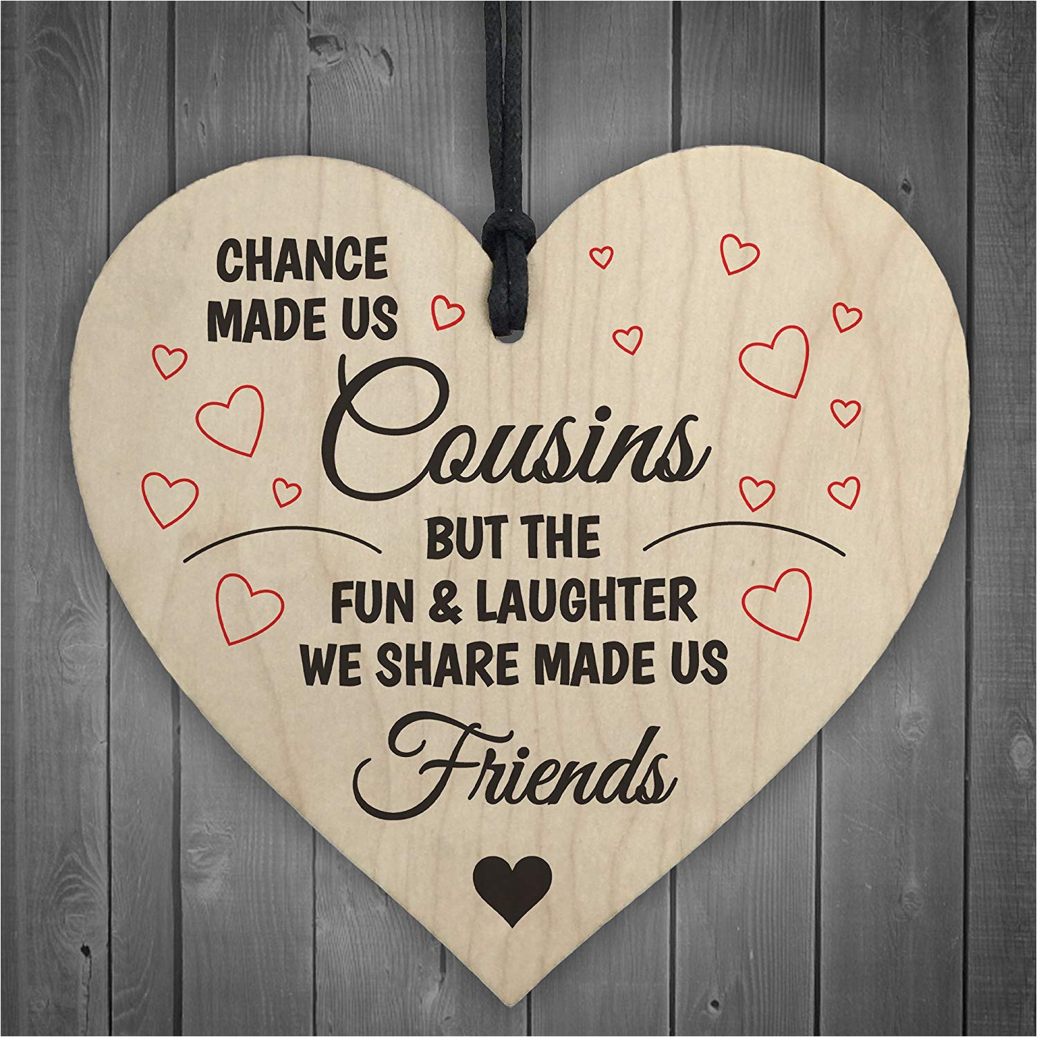 red ocean cousins fun laughter wooden hanging heart plaque sign friendship family love