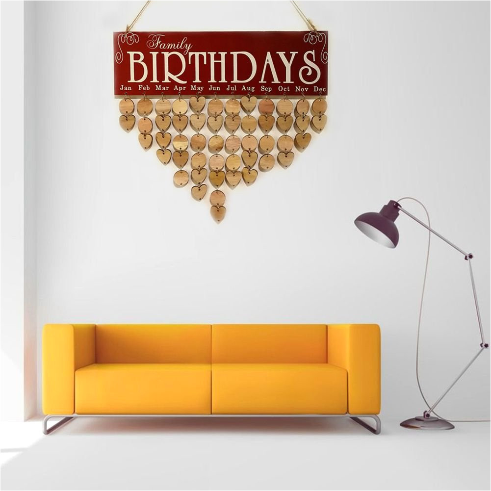 toogoo wooden birthday calendar board diy birthday sign special dates planner board for home hanging decor gift family birthdays red amazon co uk office