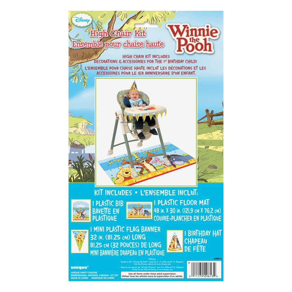 amazon com winnie the pooh first birthday high chair decorating kit 4pc toys games