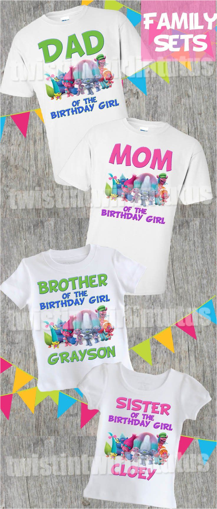 trolls family shirt set