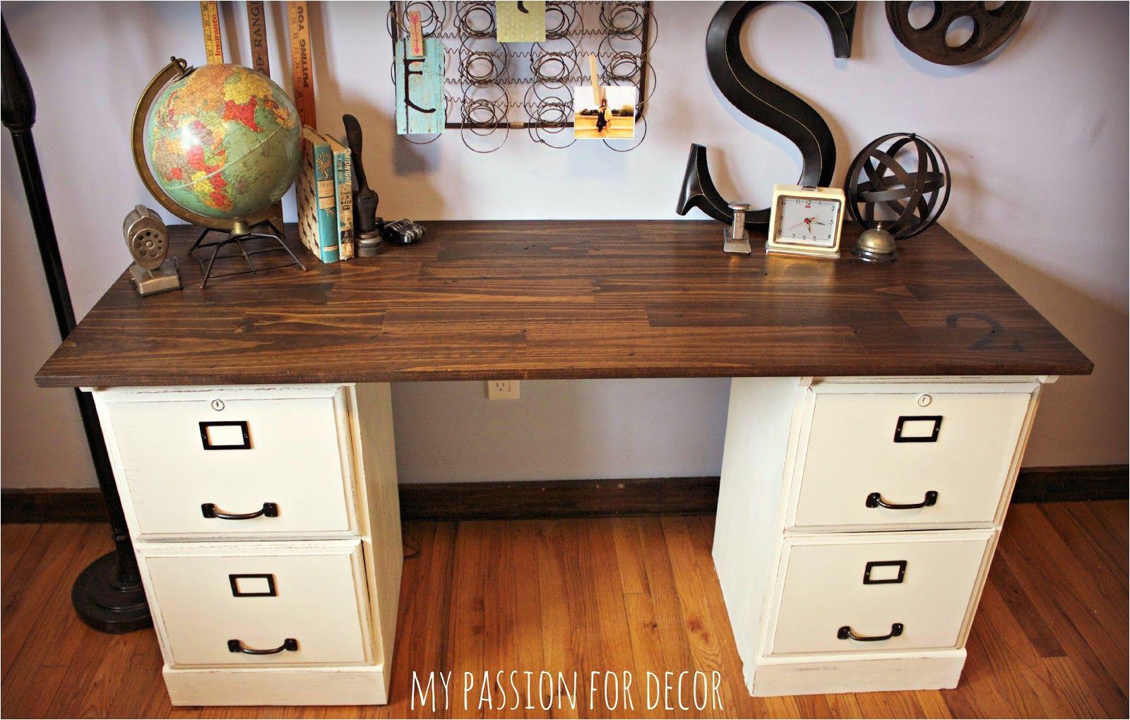 File Cabinet Corner Desk Diy Pottery Barn Inspired Desk Using Goodwill Filing Cabinets In 2019