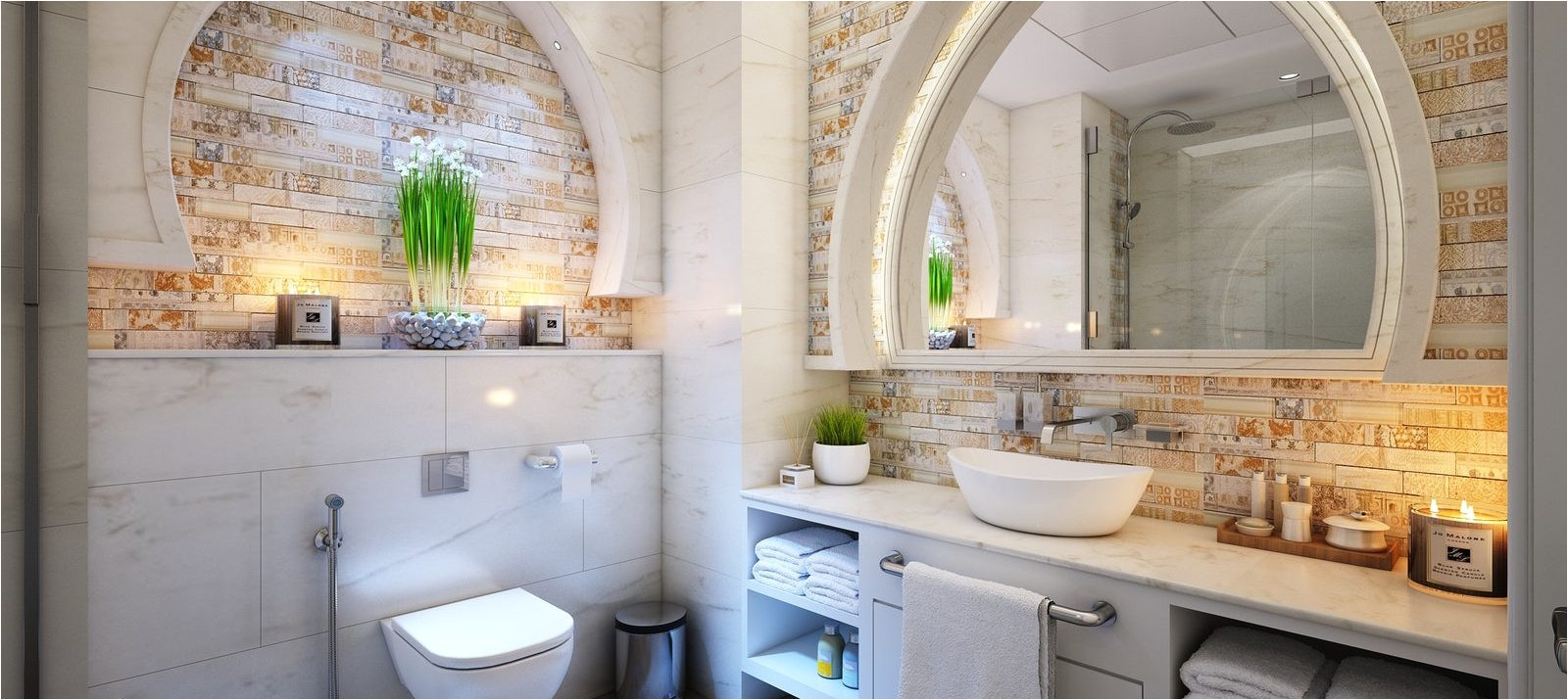 serene bathroom without cabinets