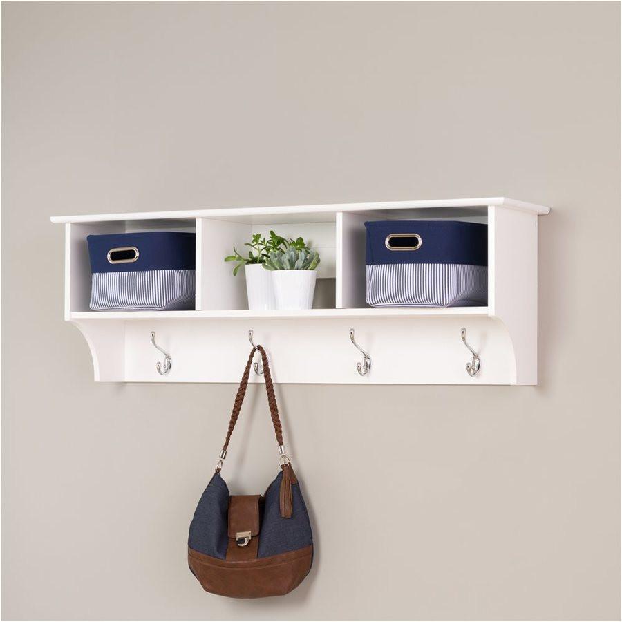 prepac white 8 hook wall mounted coat rack