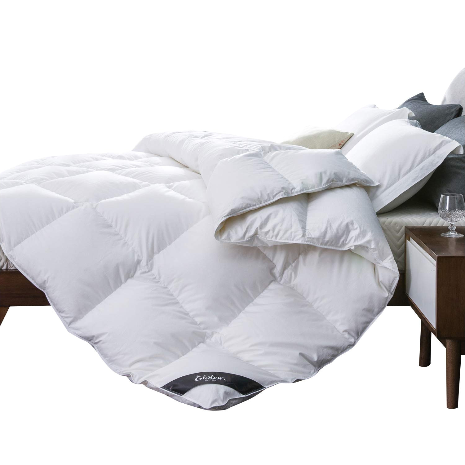 white goose down comforter queen medium warmth all season 400 thread count hypoallergenic 100 cotton shell with corner tabs 25oz 700 fill power