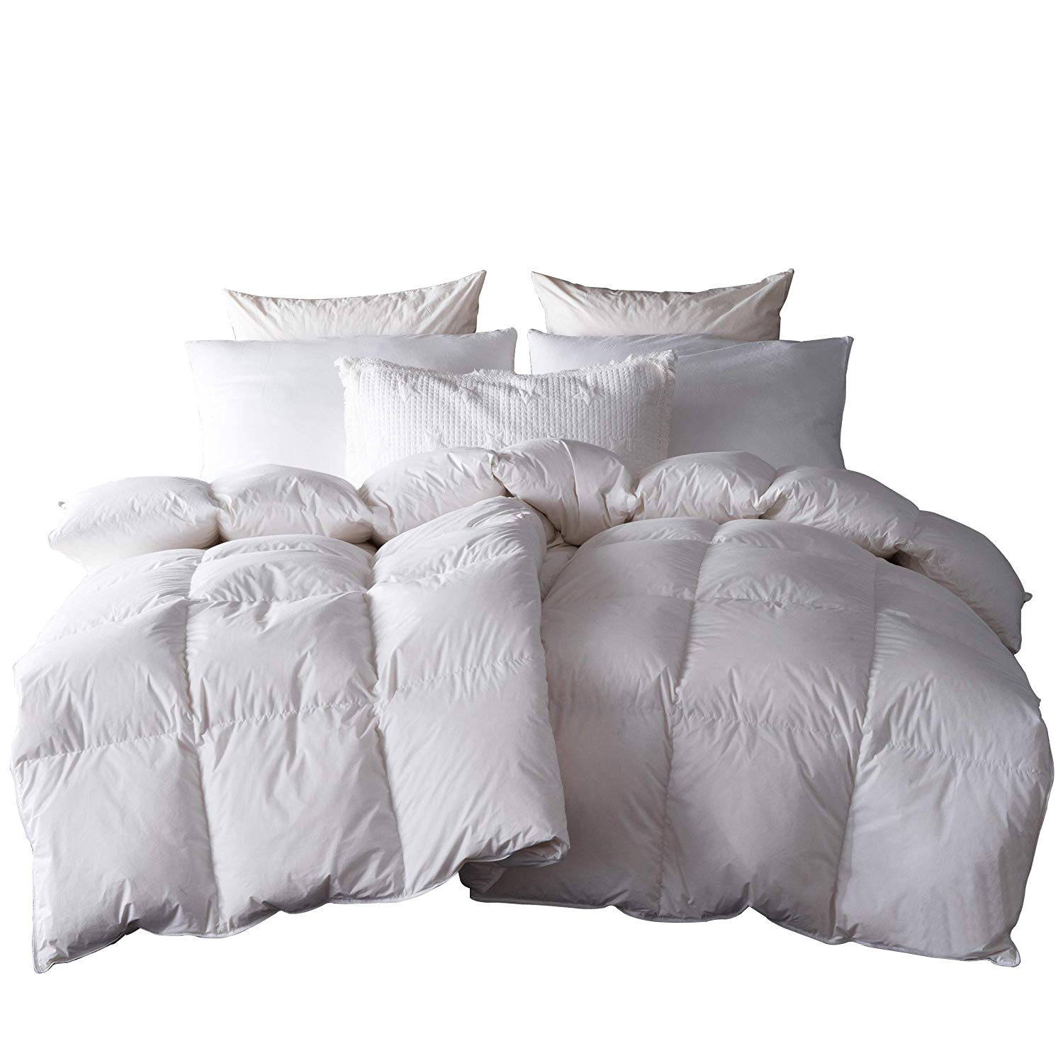 amazon com snowman white goose down feather blend comforter queen size 100 cotton cover down proof baffle boxes construction soft and warm home