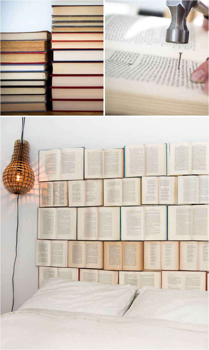 book headboard i would love to do this but i don t think i have the heart to ruin a perfectly good book