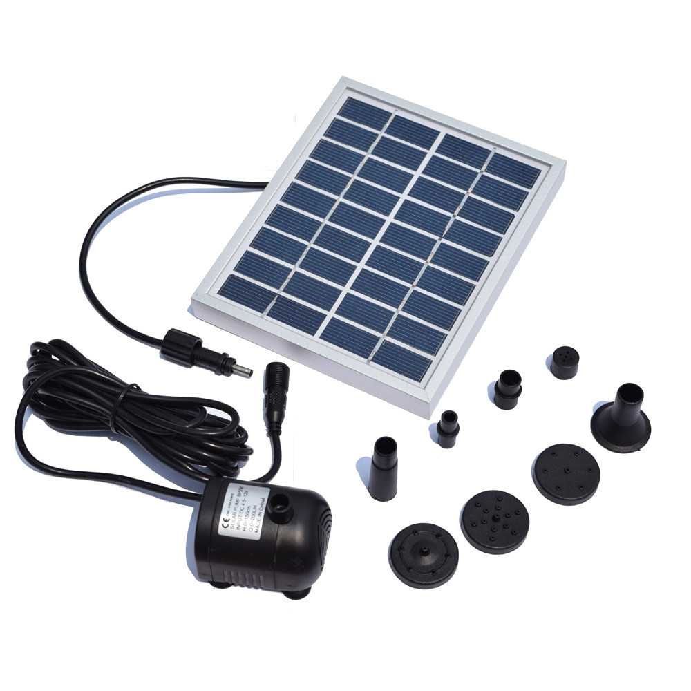 1 solar panel 1 brushless water pump with power wire 3 water outlet caps 5 accessories 1 user manual