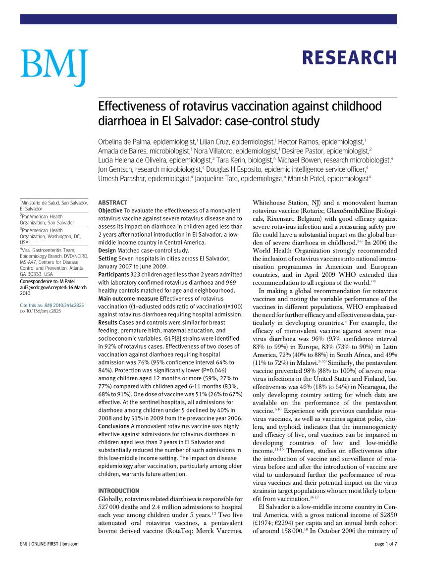 pdf effectiveness of rotavirus vaccination against childhood diarrhoea in el salvador case control study