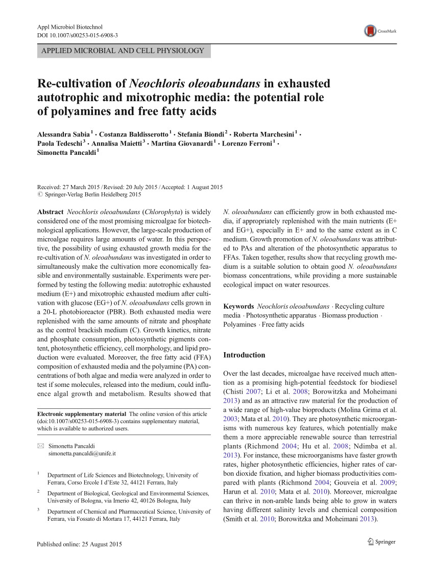 pdf re cultivation of neochloris oleoabundans in exhausted autotrophic and mixotrophic media the potential role of polyamines and free fatty acids