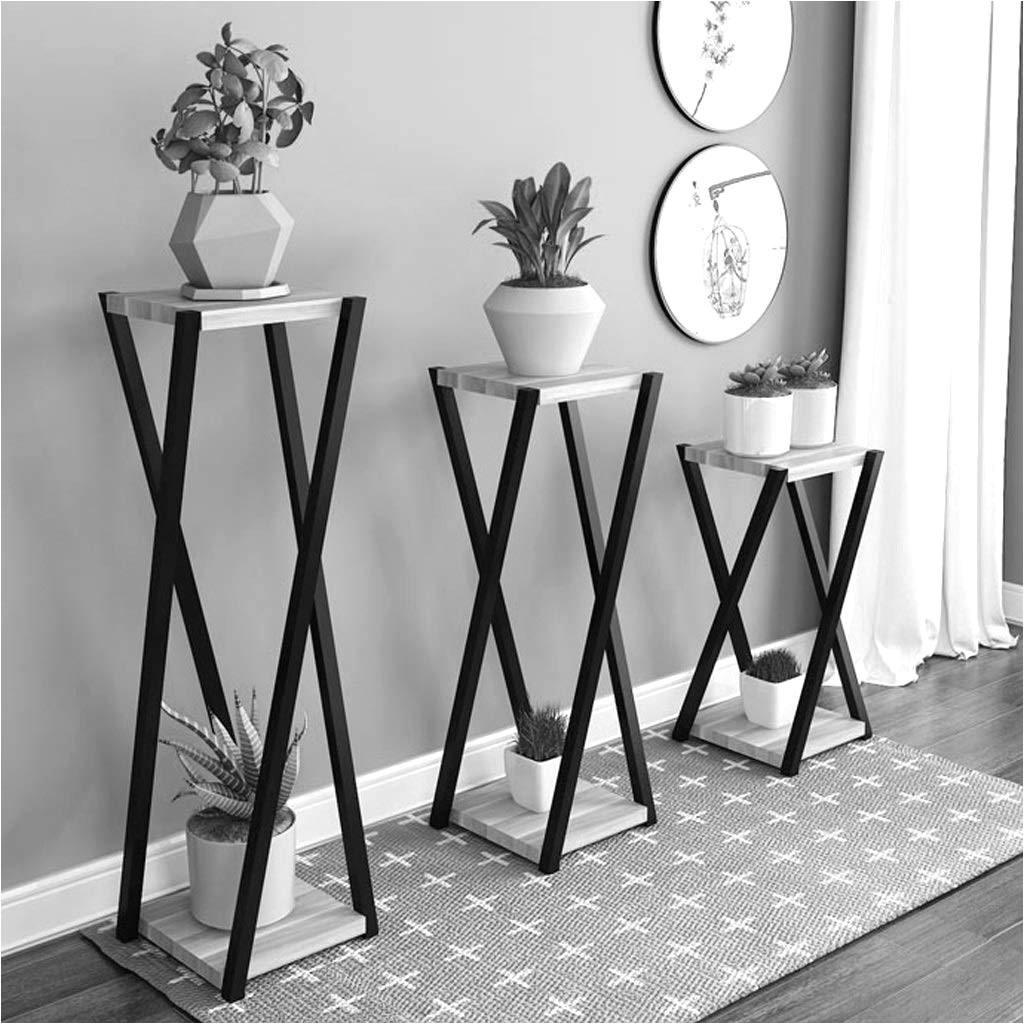 amazon com flower pot display stand flower stand plant stand two layer solid wood garden flower pot storage rack living room wrought iron flower stand