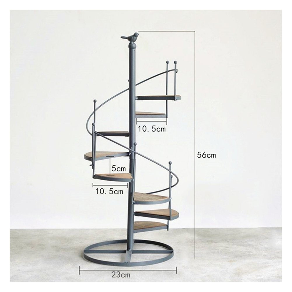 amazon com nordic style iron spiral stair plant decor stand shelf holds 8 flower pot garden outdoor