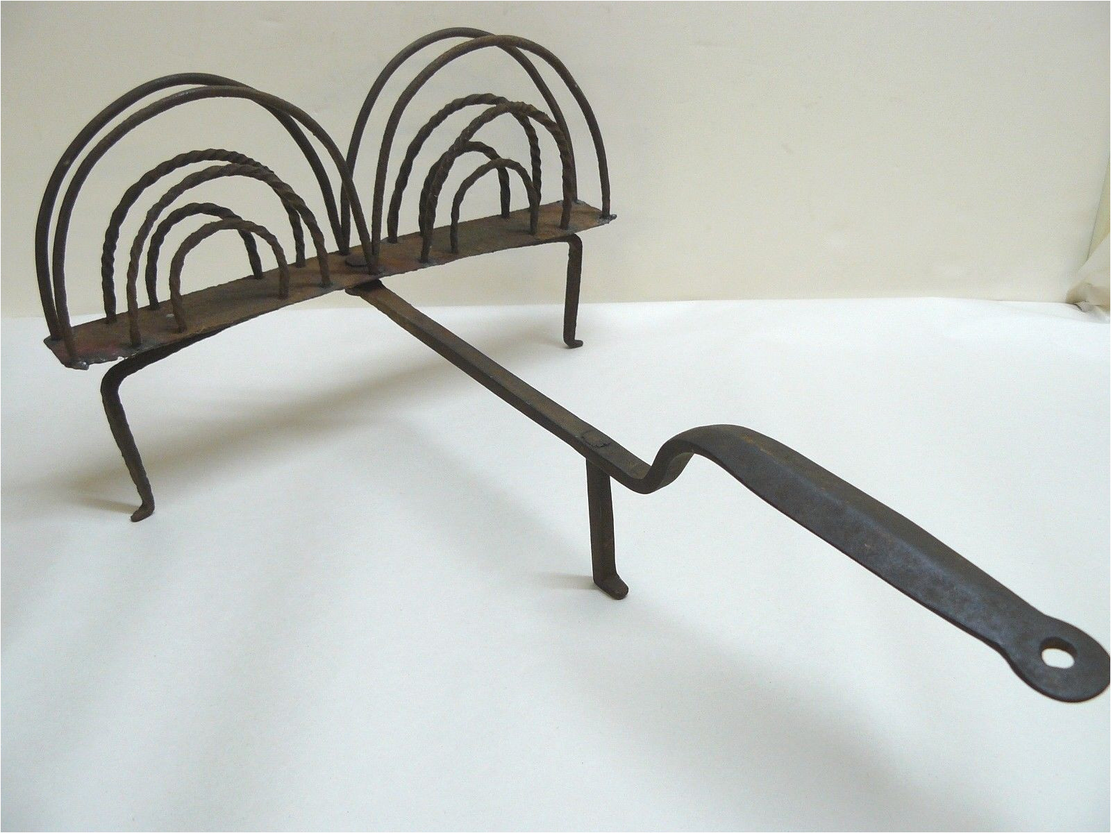 antique wrought iron fireplace hearth ware rotating toaster
