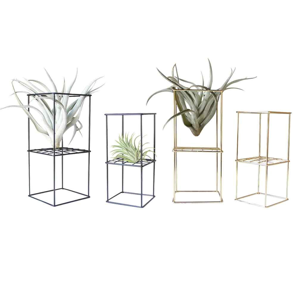 rustic iron freestanding hanging metal 2 layer geometrical shaped square air plant receptacle flower stand